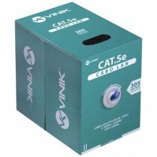 Cabo Lan U/UTP Cat5e 24AWG 4 pares capa CMX 100% cobre Azul - Cx 305m - Vinik