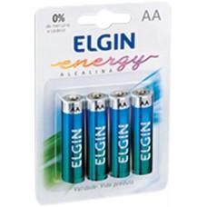 Pilha Alcalina AA ELGIN - Cartela com 4 unidades