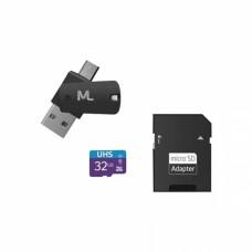 Cartão de memória 4x1 Ultra High Speed (80MB/s) Classe 10 UHS1 32GB + Adaptador SD USB Dual MC151 - Multilaser
