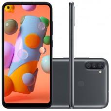 "Smartphone Samsung Galaxy A11 6,4"" Dual Chip 64GB 3GB RAM Preto Octa Core Câmera Tripla 13MP Selfie 8MP"